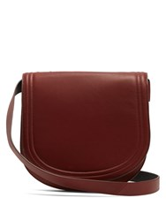 Diane Von Furstenberg Large Saddle Leather Cross Body Bag Burgundy