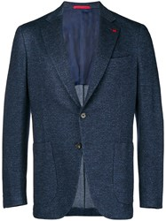 Isaia Two Button Blazer Blue