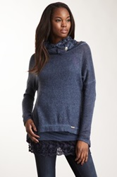 Luma Lace Trim Wool Blend Sweater Blue