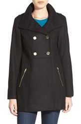 Petite Women's Guess Double Breasted Wool Blend Swing Coat Black