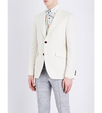 Salvatore Ferragamo Regular Fit Notch Lapel Cotton And Silk Blend Jacket White
