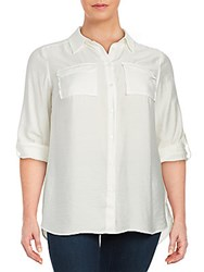 Vince Camuto Textured Button Front Shirt White