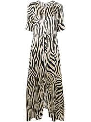 Laneus Zebra Print Dress Neutrals