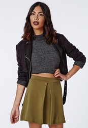 Missguided Front Pleat A Line Skirt Khaki