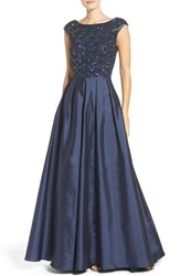 Aidan Mattox Women's Embellished Mesh And Taffeta Ballgown Twilight