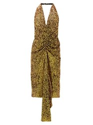 Halpern Gathered Sequinned Dress Gold