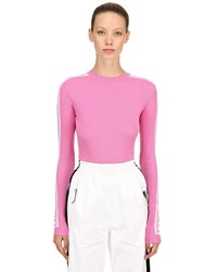 Fiorucci Logo Band Wool Rib Knit Sweater Pink
