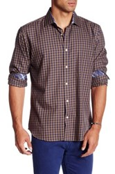 Bristol And Bull Long Sleeve Classic Fit Checkered Woven Sport Shirt Blue