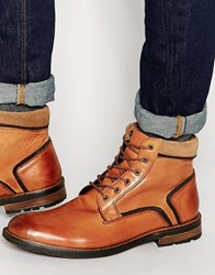 Dune Lace Up Boots In Tan Leather Tan