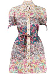 Olympia Le Tan Floral Print Mini Shirt Dress
