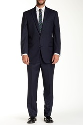 Kenneth Cole Reaction Pinstripe Two Button Notch Lapel Wool Suit Blue