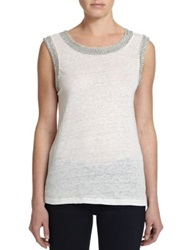 Generation Love Crystal Embellished Linen Tank Top White