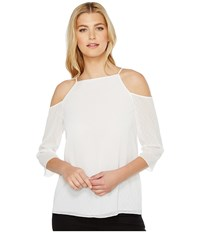 Ellen Tracy Cold Shoulder Blouse Clip Ggt E White Women's Blouse