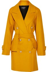 Balmain Double Breasted Wool Coat Yellow