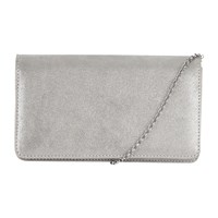 Hobbs Kensington Leather Clutch Bag Silver