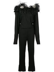 Johanna Ortiz Embellished Feather Shoulder Jumpsuit Black