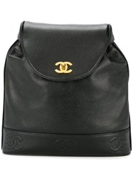 Chanel Vintage Cc Embroidered Chain Backpack Black