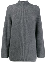 N.Peal Relaxed Fit Ribbed Jumper Grey
