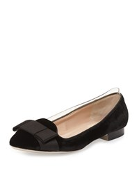 Valentino Velvet Satin Bow Loafer Nero