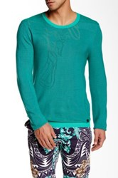 Versace Crew Neck Patterned Sweater Blue