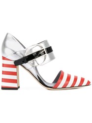 Pollini Striped Ankle Strap Heels Women Leather Calf Suede 38 Metallic