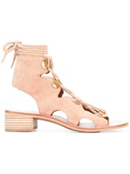 See By Chloe Lace Up Sandals Nude Neutrals
