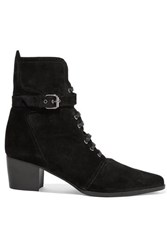 Tabitha Simmons Porter Buckled Suede Ankle Boots Black