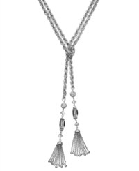 Inc International Concepts Gold Tone Beaded Y Shaped Tassel Necklace Silver