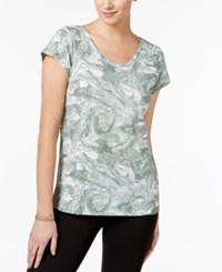 Style And Co Petite Marble Print T Shirt Only At Macy's Sage