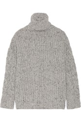 Adam By Adam Lippes Chunky Knit Wool And Cashmere Blend Turtleneck Sweater Gray