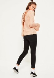 Missguided Pink Soft Knit Lace Up Back Jumper