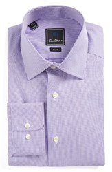 David Donahue Men's Big And Tall Slim Fit Check Dress Shirt Lilac