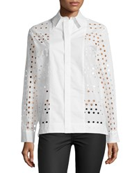 See By Chloe Long Sleeve Eyelet Dress Shirt White Women's Size 40