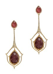 Isharya Abstract Mughal Gold Plated Drop Earrings Red