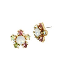 Betsey Johnson Flat Out Floral Stud Earrings Gold
