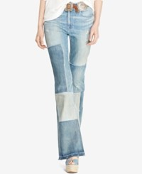 Polo Ralph Lauren Flared Patchwork Jeans Worn Out Patch Wash