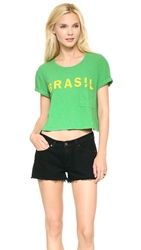 Textile Elizabeth And James Cropped Brasil Tee Green Yellow