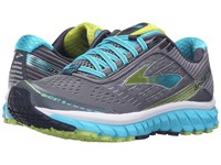 Brooks Ghost 9 Silver Blue Atoll Lime Punch Women's Running Shoes Gray