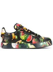 Dolce And Gabbana Fruit Print Sneakers Women Leather Rubber 37 Black