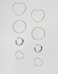 Stradivarius Mixed Shape Hoop Pack Silver