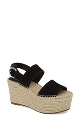 Marc Fisher 'S Ltd Renni Espadrille Platform Wedge Sandal Black Suede