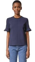 Victoria Beckham Flounce Sleeve Top Navy Fruit Patch