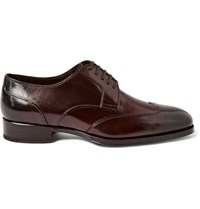 Tom Ford Austin Polished Leather Wingtip Derby Shoes Merlot