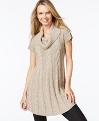 Style And Co. Petite Cowl Neck Cable Knit Tunic Only At Macy's New Tye Tea Biscut