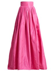 Carolina Herrera High Rise Silk Taffeta Ball Gown Skirt Pink