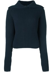 Carven 'Felted Knit' Pullover Blue