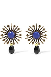 Isabel Marant Gold Tone Glass Earrings Blue