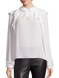 Saks Fifth Avenue Silk Ruffle Blouse Ivory Black