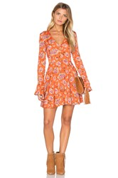 J.O.A. Long Sleeve V Neck Floral Dress Rust