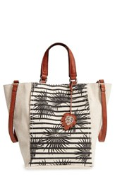 Tommy Bahama Reef Convertible Tote Brown Striped Palm